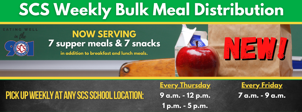 Weekly Bulk Meal Distribution - Now Serving Supper & Snacks banner