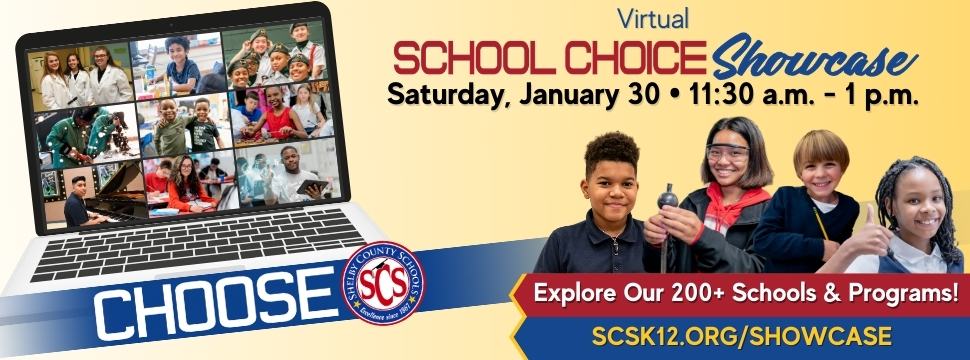 School Choice Showcase 2021 - explore our 200 schools & programs - january 30, 11:30-1pm - scsk12.org/showcase banner
