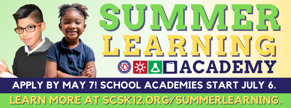Summer Learning Academy Applications Due By May 7 banner